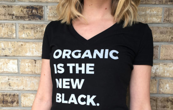 "Introducing ""Organic Is The New Black"" Eco-Friendly V-Neck Shirts"
