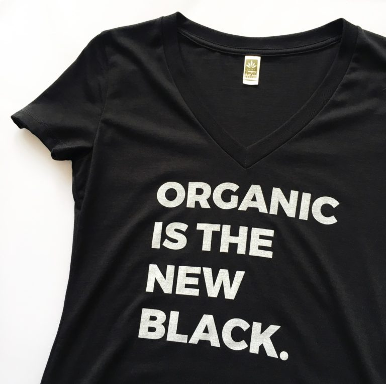 """Organic Is The New Black"" Women's V-Neck Shirt"