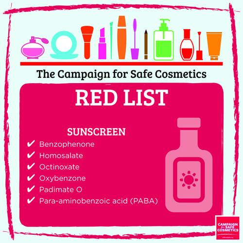 Campaign for Safe Cosmetics Sunscreen Red List