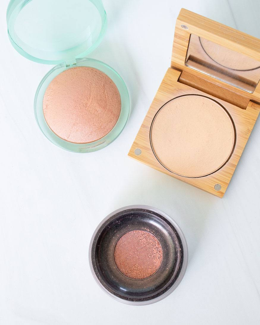 Natural bronzers, blush, and powder foundation