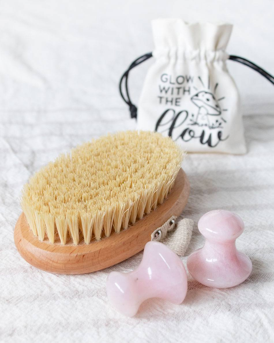 Dry Body Brush and Gua Sha Mushrooms