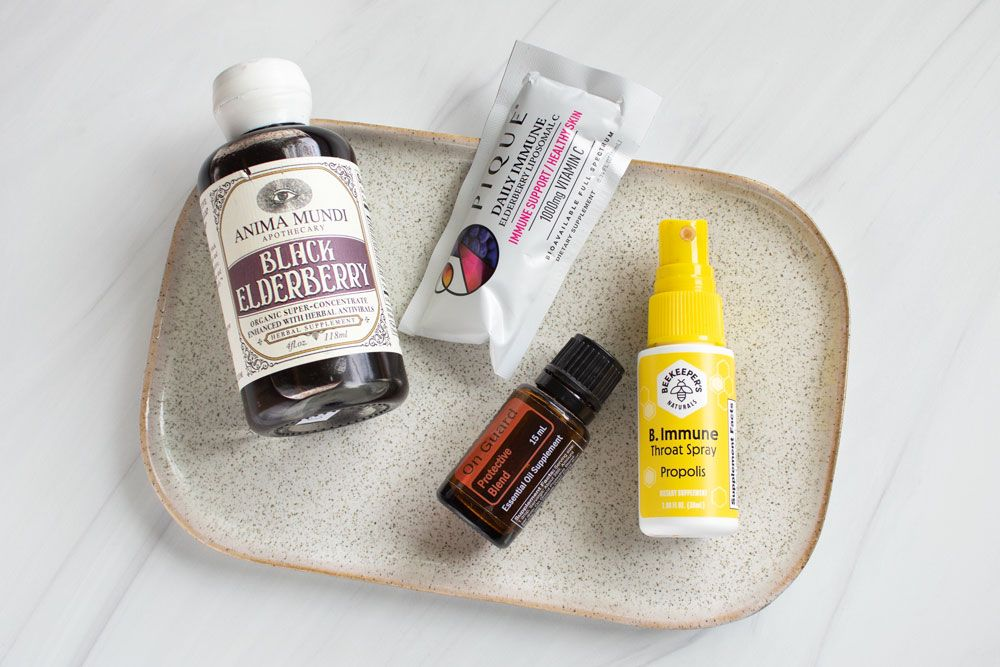 Natural Immune Boosting Support: Elderberry, vitamin C, propolis